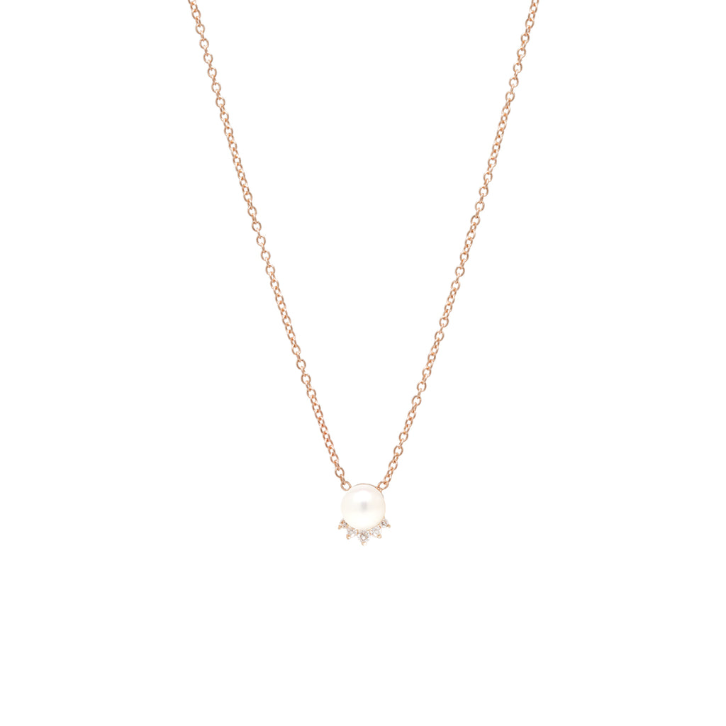 14k pearl and diamond crown necklace
