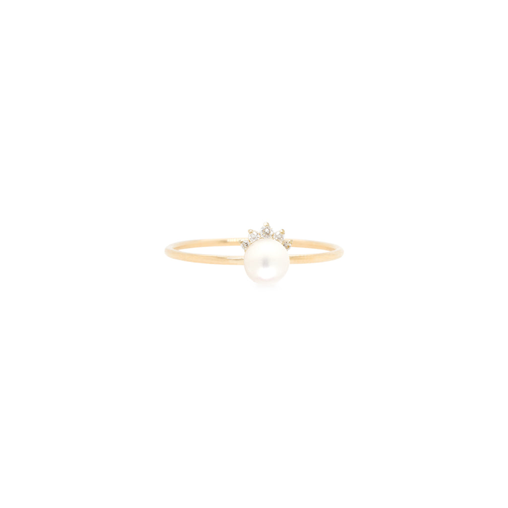 14k prong set pearl and diamond crown ring