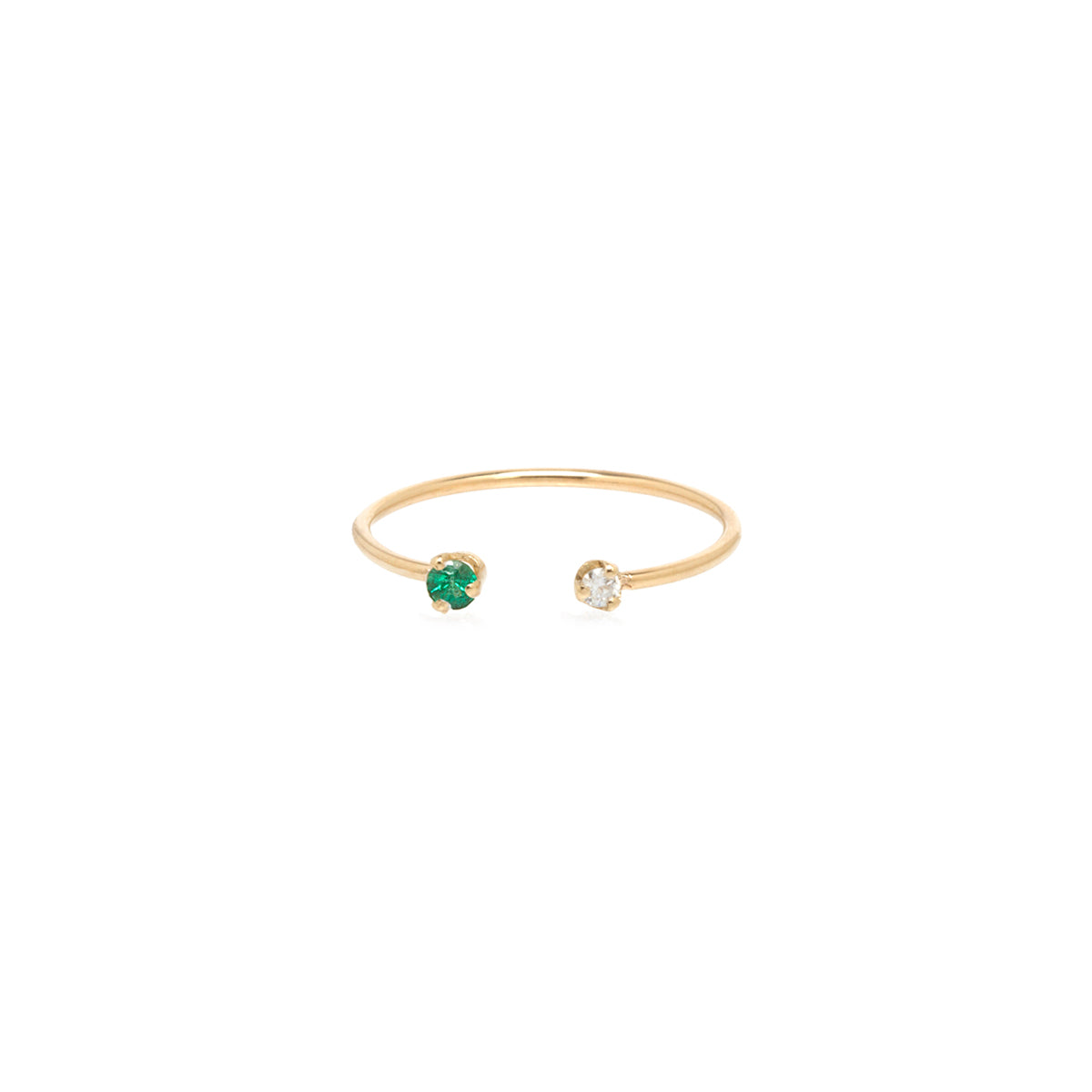 14k Open Prong Set Diamond & Emerald Ring