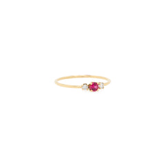 14k Prong Set Diamond & Ruby Ring