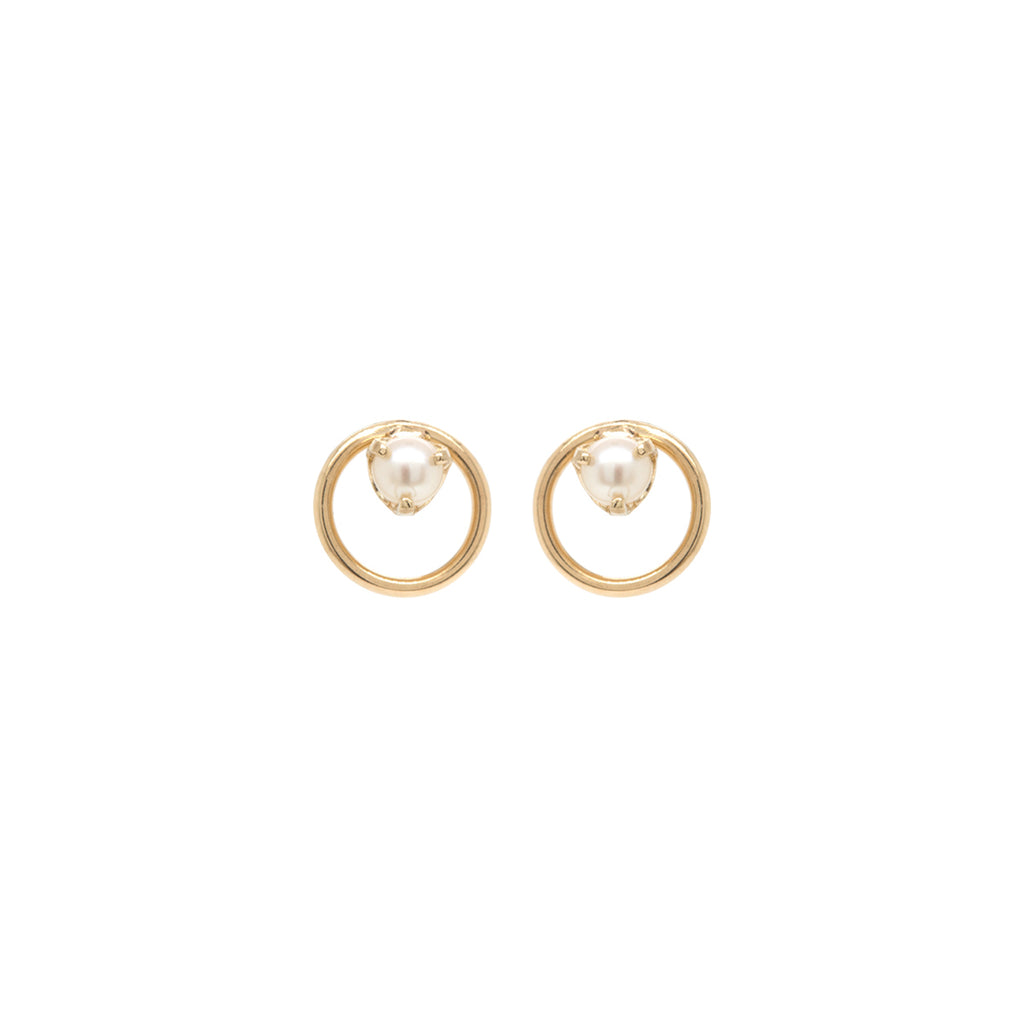 14k circle pearl prong studs