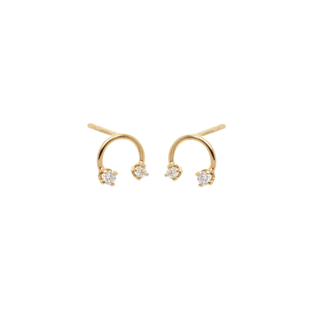 14k open circle two prong diamond studs