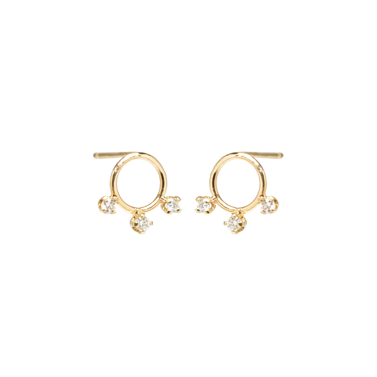14k circle three prong diamond studs