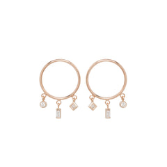 14k small circle earrings with baguettes, princess and bezel diamonds