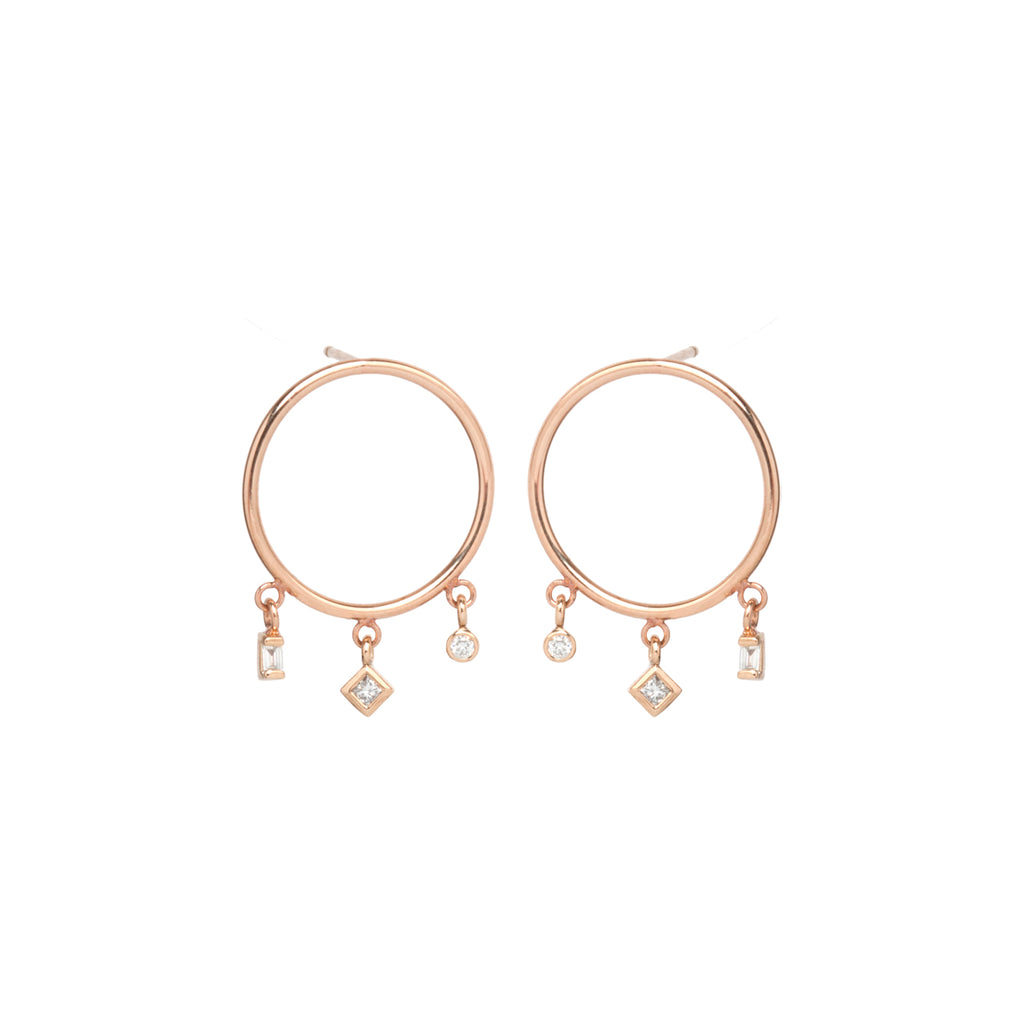14k small circle earrings with princess, baguette and bezel diamonds