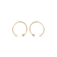 14k medium open circle prong and princess earrings