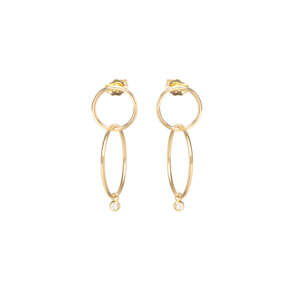 Zoë Chicco 14kt Yellow Gold Bezel Set White Diamond Double Circle Hoop Earrings