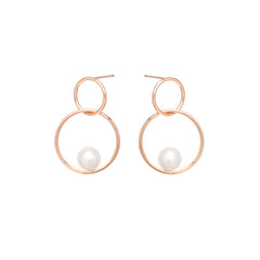 Zoë Chicco 14kt Rose Gold Floating Pearl Double Circle Hoop Earrings
