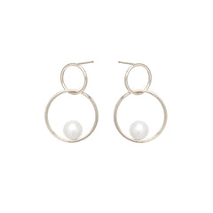 Zoë Chicco 14kt White Gold Floating Pearl Double Circle Hoop Earrings