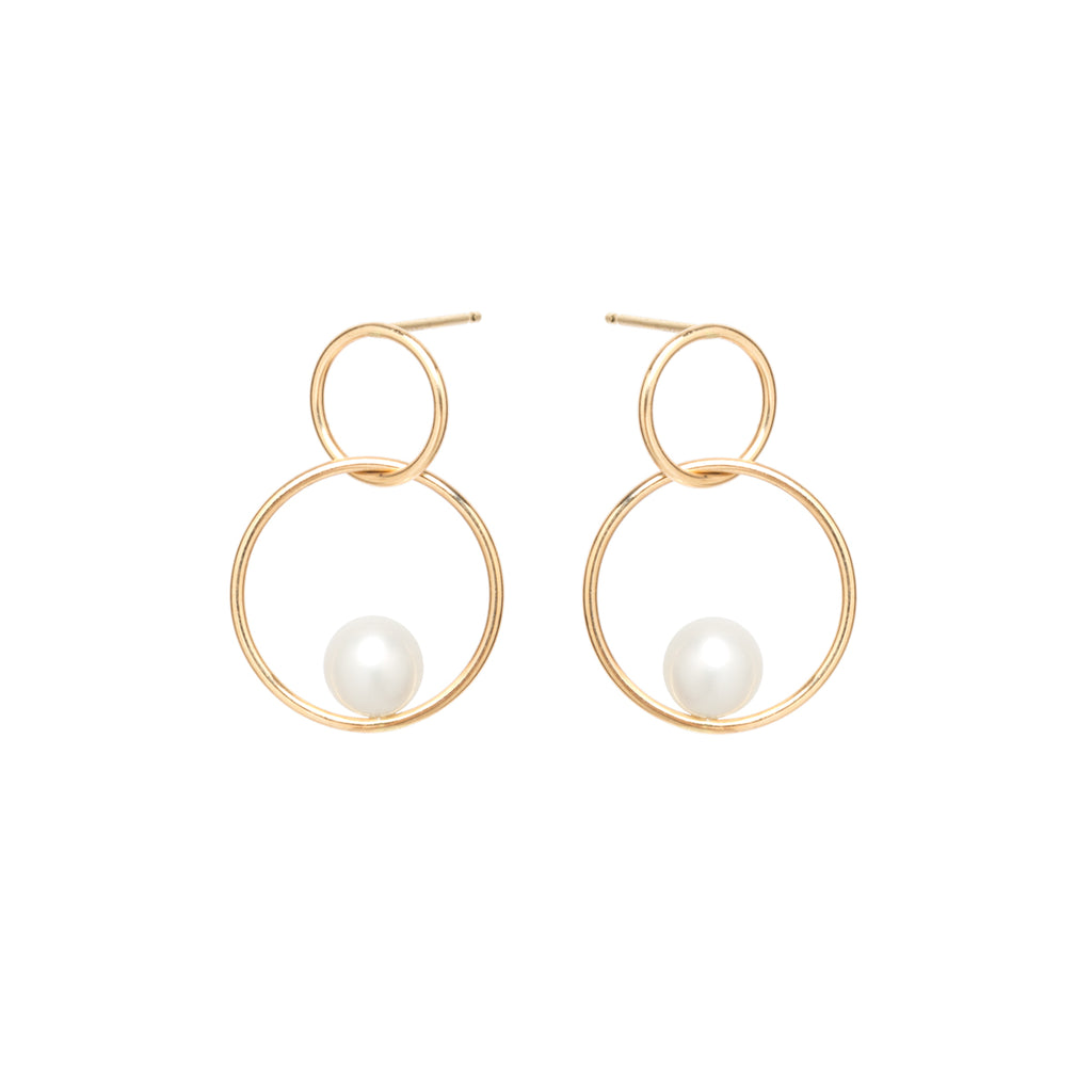 Zoë Chicco 14kt Yellow Gold Floating Pearl Double Circle Hoop Earrings