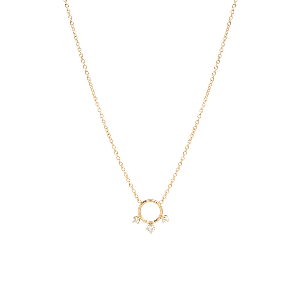 14k circle with 3 prong diamond necklace