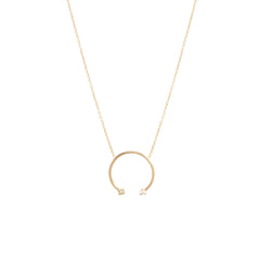 14k medium open circle with prong and princess diamonds