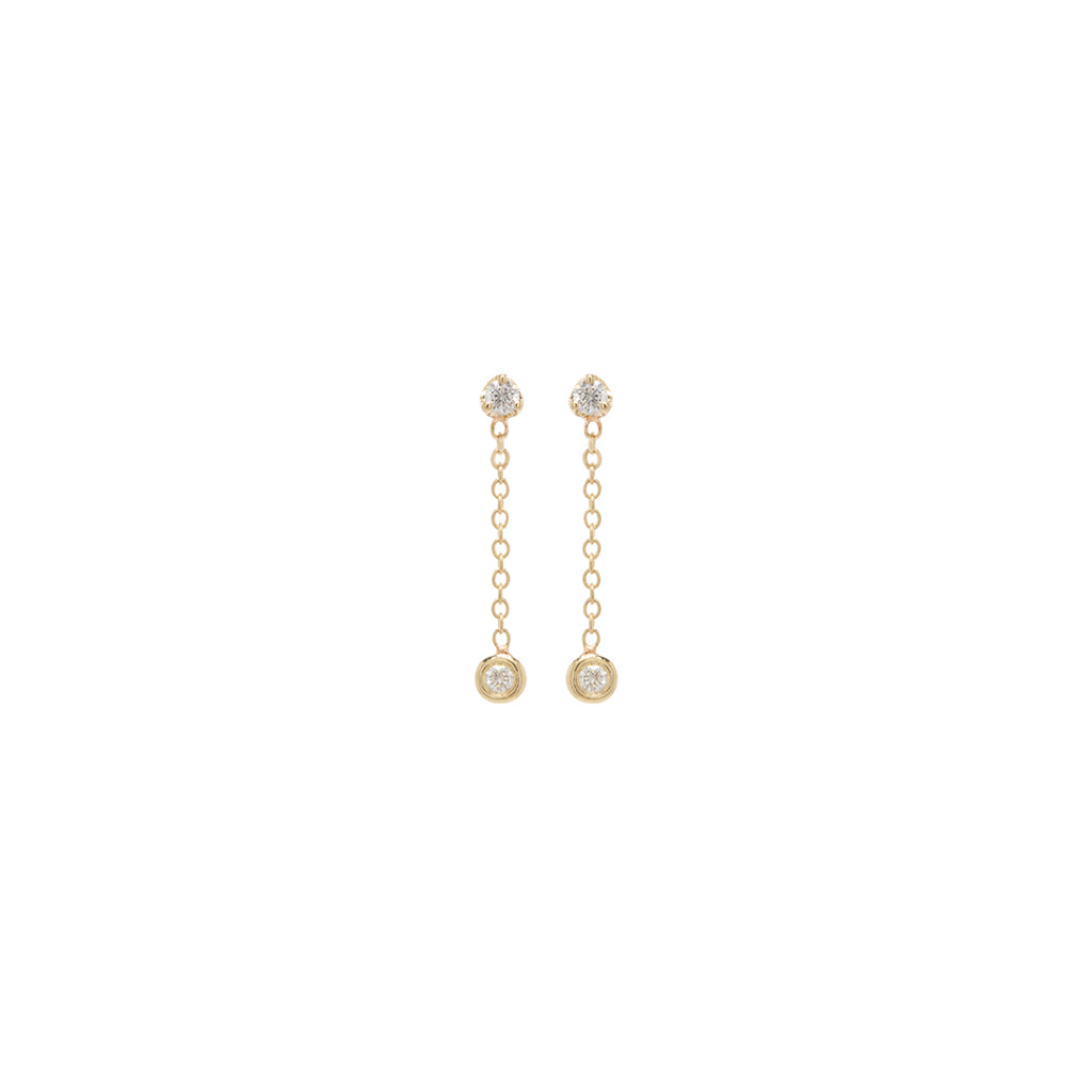 14k prong studs with short chain drop & floating diamond dangle