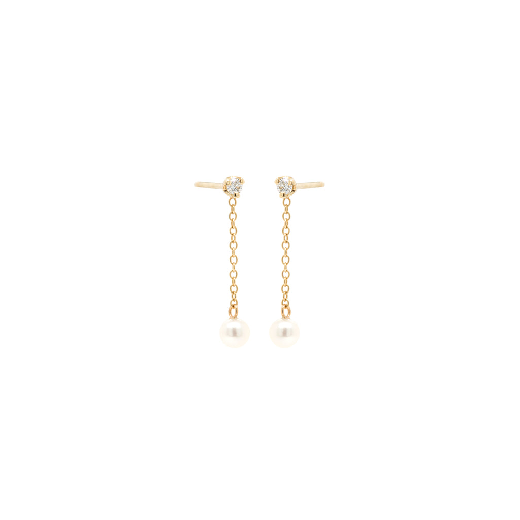 14k prong studs with short chain drop & tiny pearl dangle