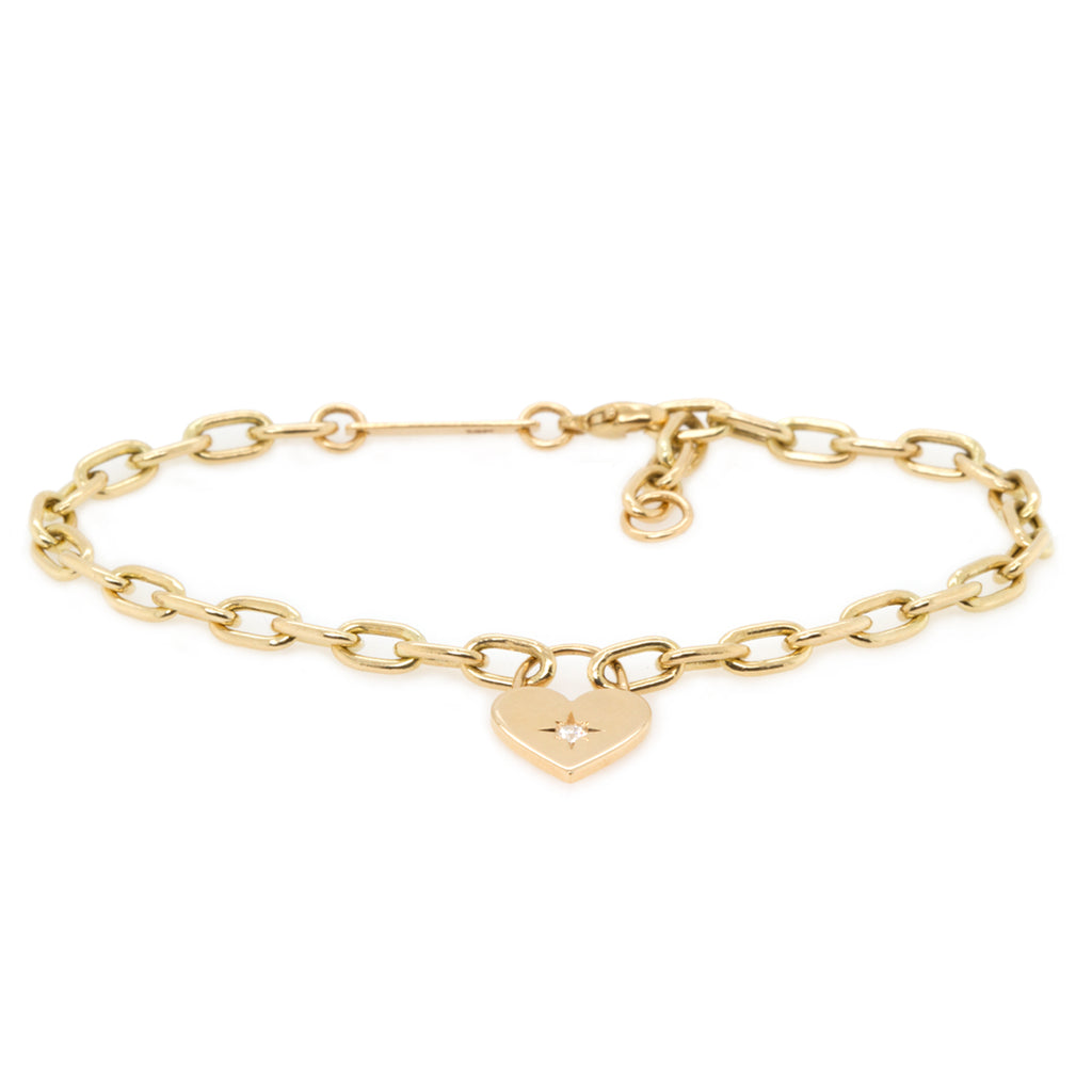 14k star set diamond heart padlock bracelet