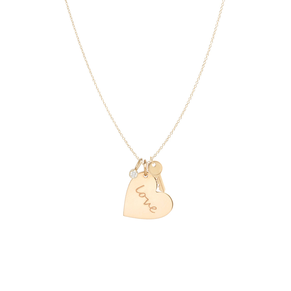 14k gold love heart charm necklace with key and diamond