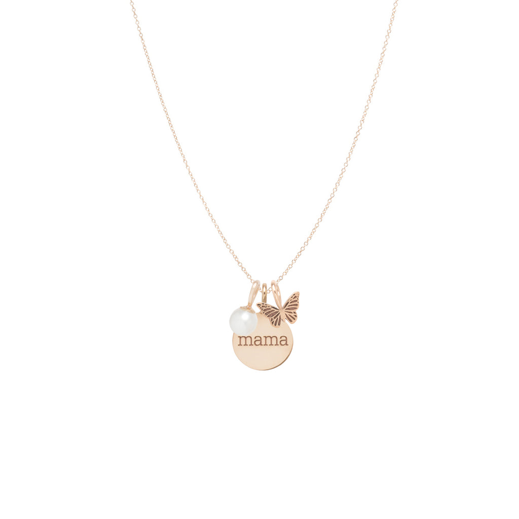 14k gold mama disc charm necklace with butterfly and pearl