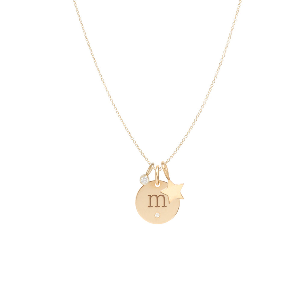 14k gold initial disc charm necklace with star and diamond