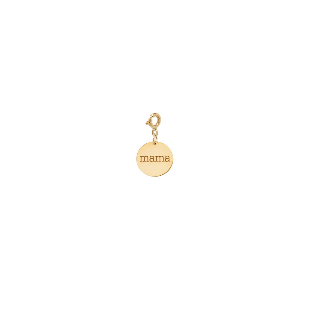 14k small personalized disc charm pendant with spring ring