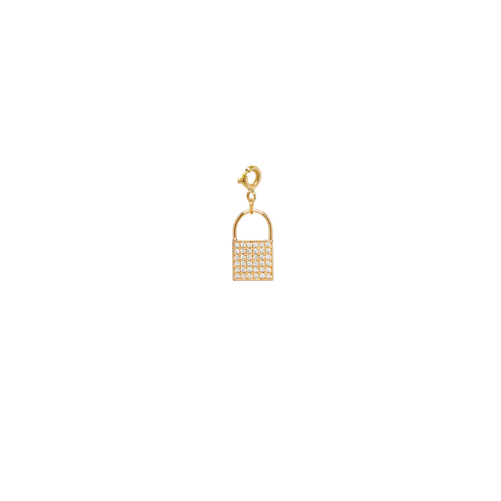 14k gold pave diamond small padlock charm on spring ring