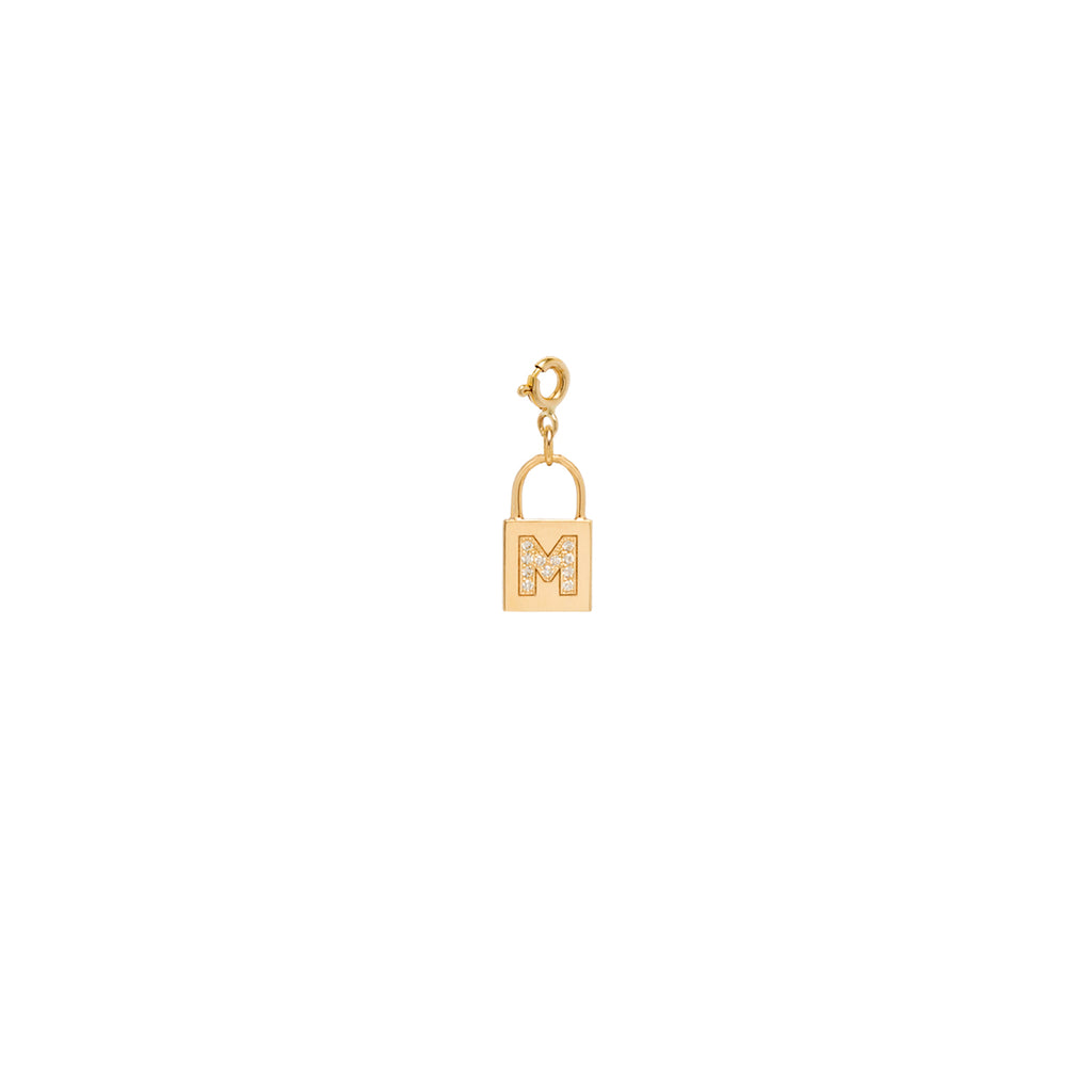 14k gold padlock charm with a pave letter on spring ring