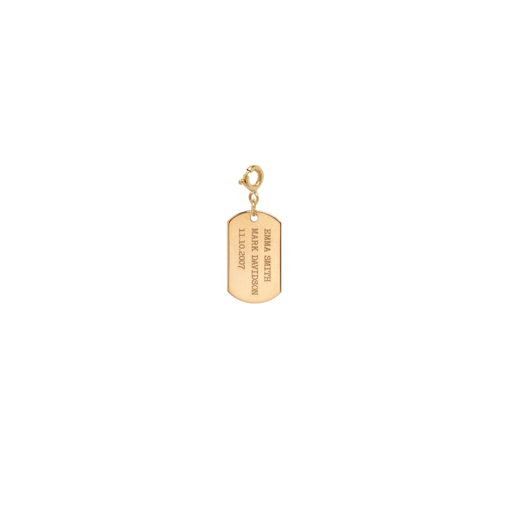 14k vertical text small dog tag charm with spring ring
