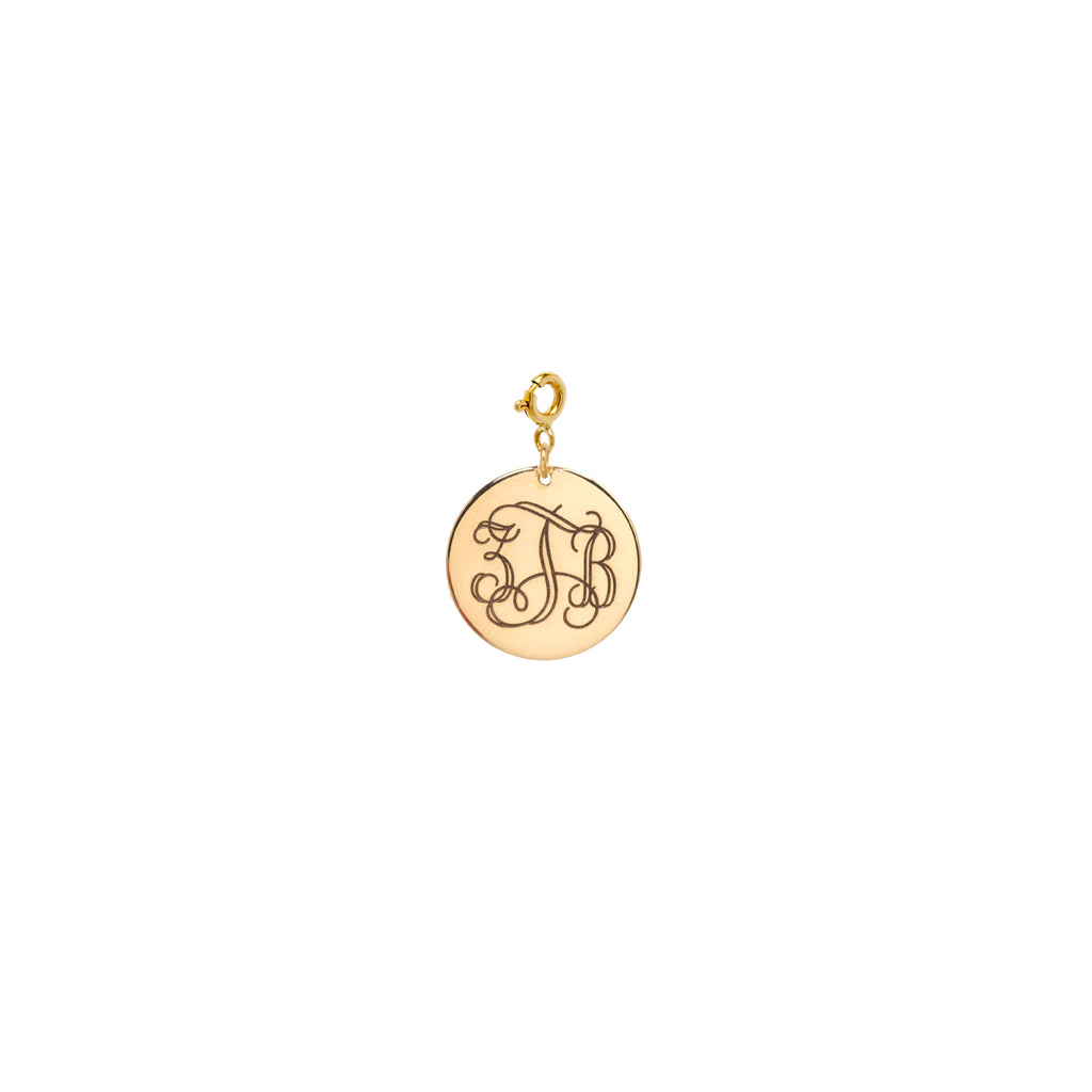 14k medium monogram disc charm pendant on spring ring