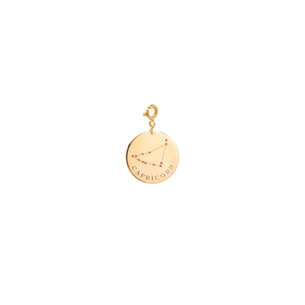 14k gold constellation & zodiac medium disc charm on spring ring
