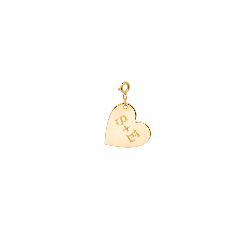 14k medium heart charm pendant with initials engraved on spring ring