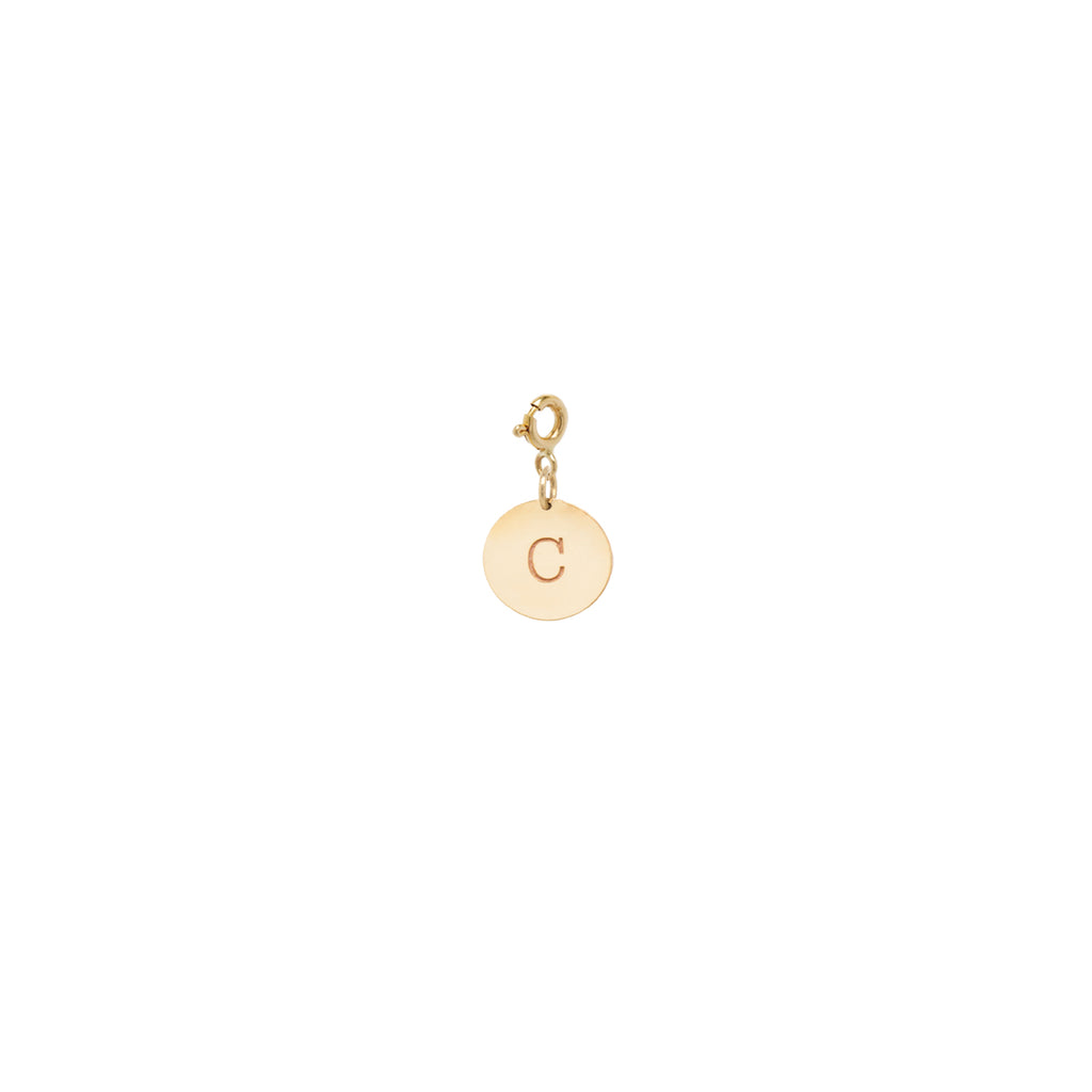 14k small initial disc charm pendant with spring ring