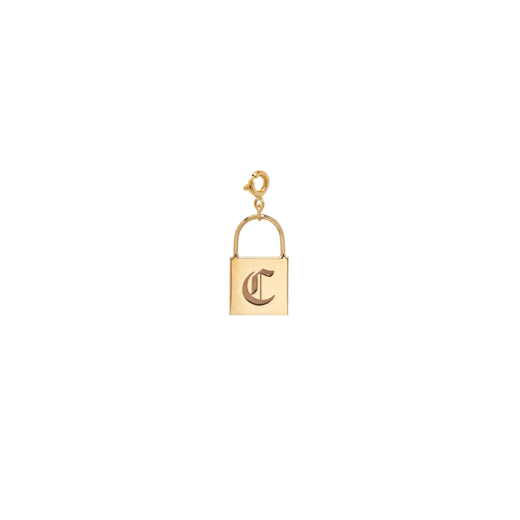 14k large padlock initial charm pendant with spring ring