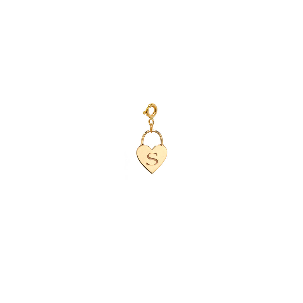 14k heart padlock charm pendant on spring ring