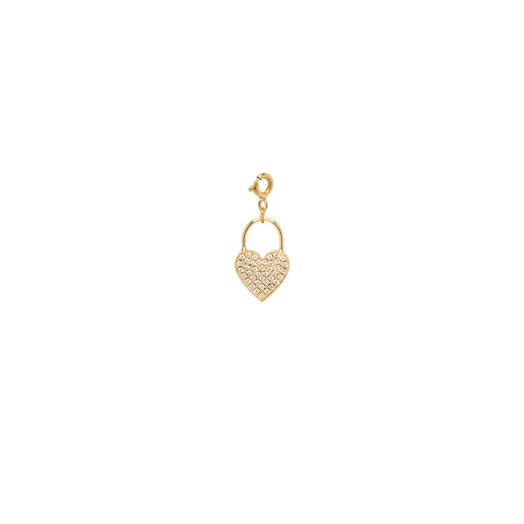 14k pave diamond heart padlock charm pendant on spring ring