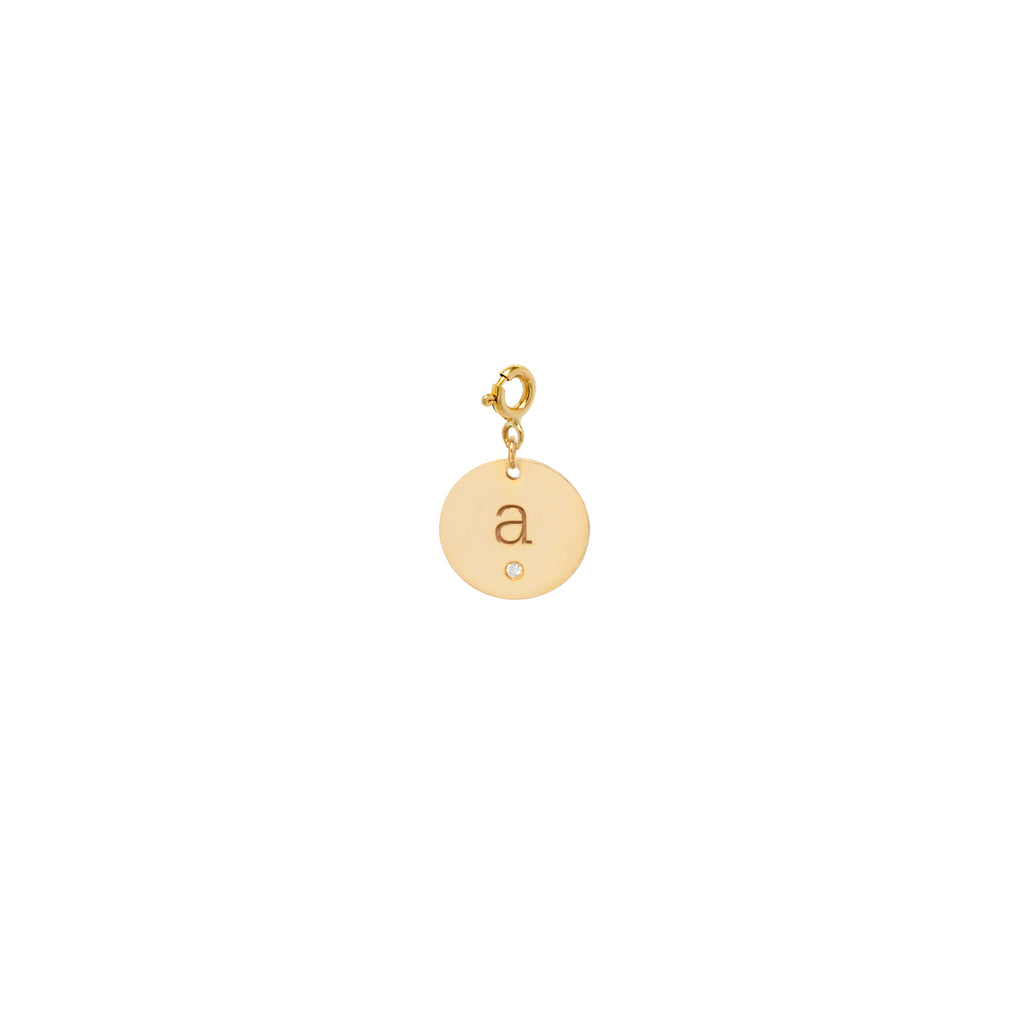 14k single medium initial diamond disc charm with spring ring