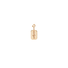 14k single engraveable rectangle disc charm pendant