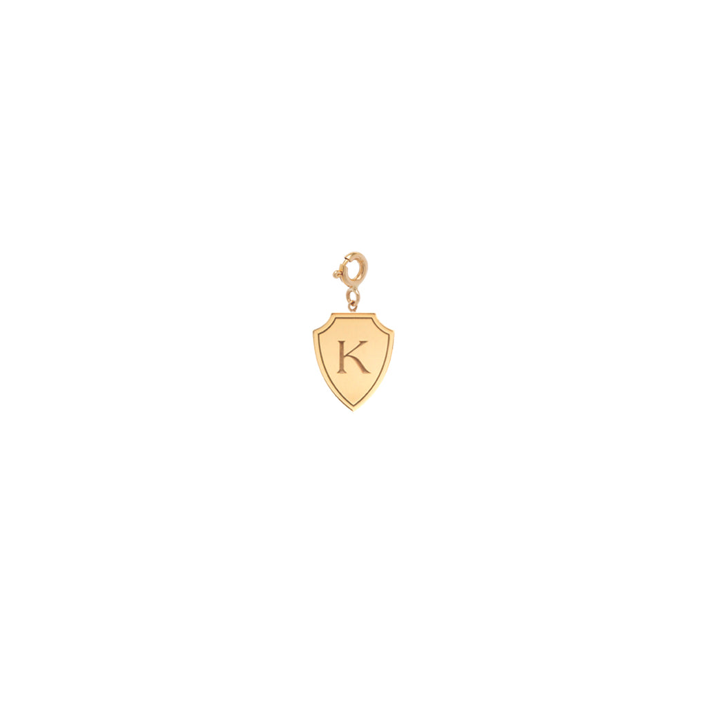 14k initial shield charm pendant with spring ring