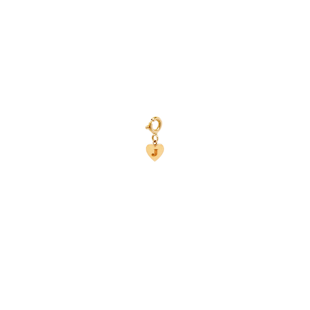 14k initial heart charm pendant on spring ring