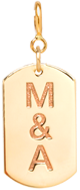 14k small dog tag charm with engraved initials on spring ring