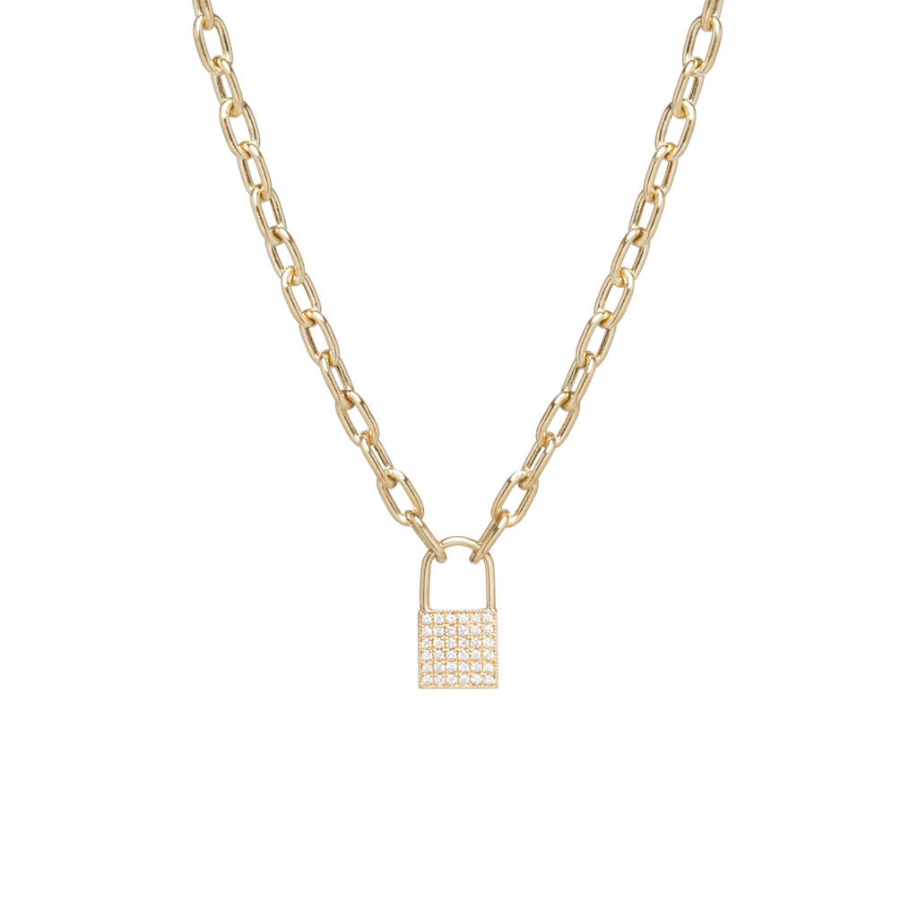 14k medium oval link & pave diamond padlock necklace