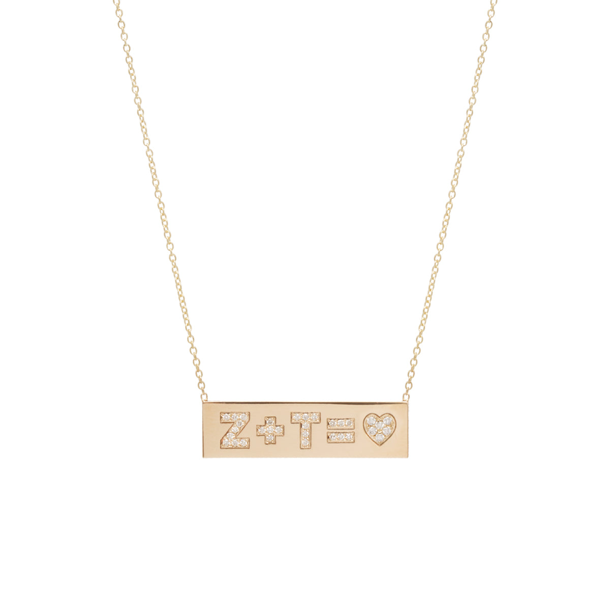 14k pave heart equation ID necklace