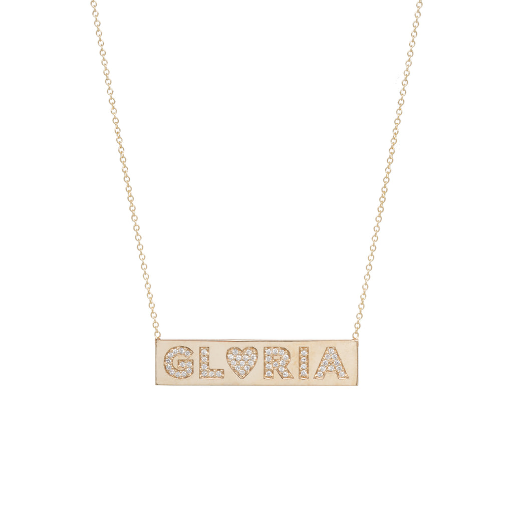 14k pave name ID necklace