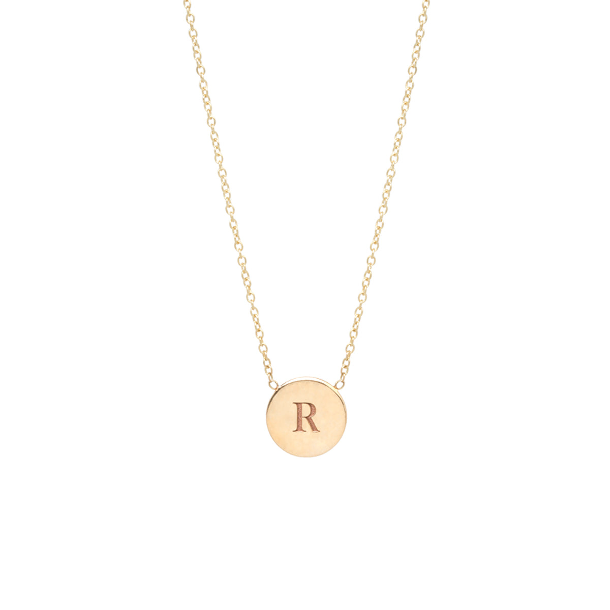 14k small engraved initial disc necklace