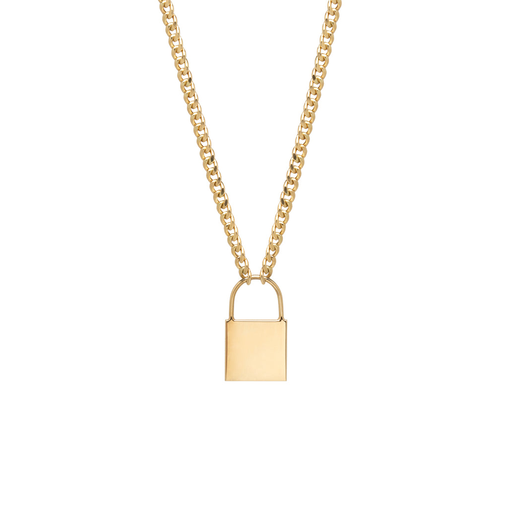 14k large padlock necklace on small curb chain