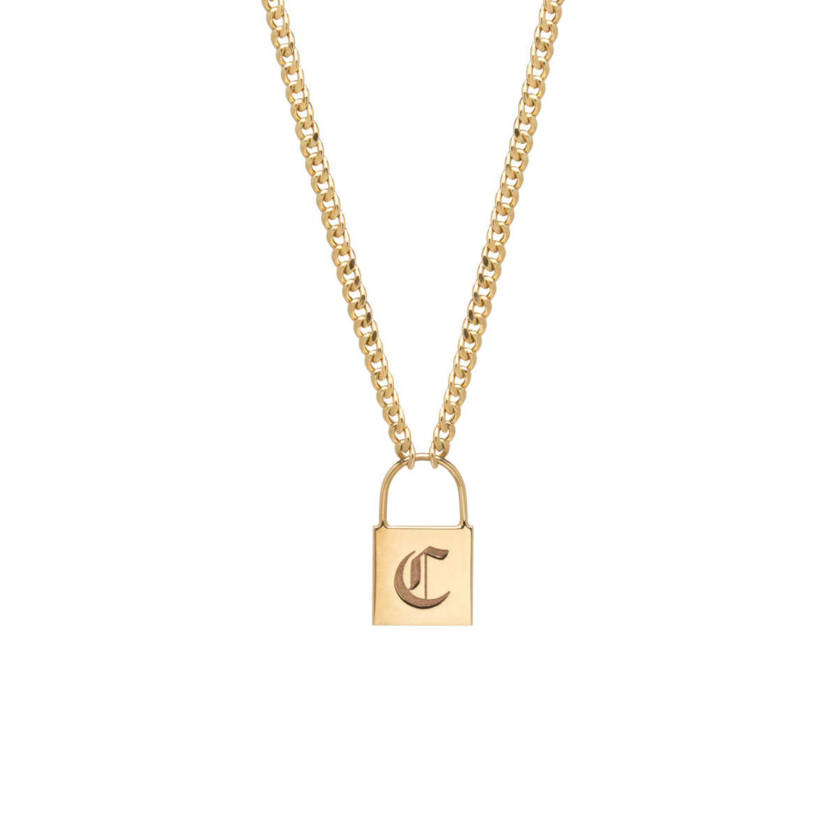14k large padlock necklace with engraved initial