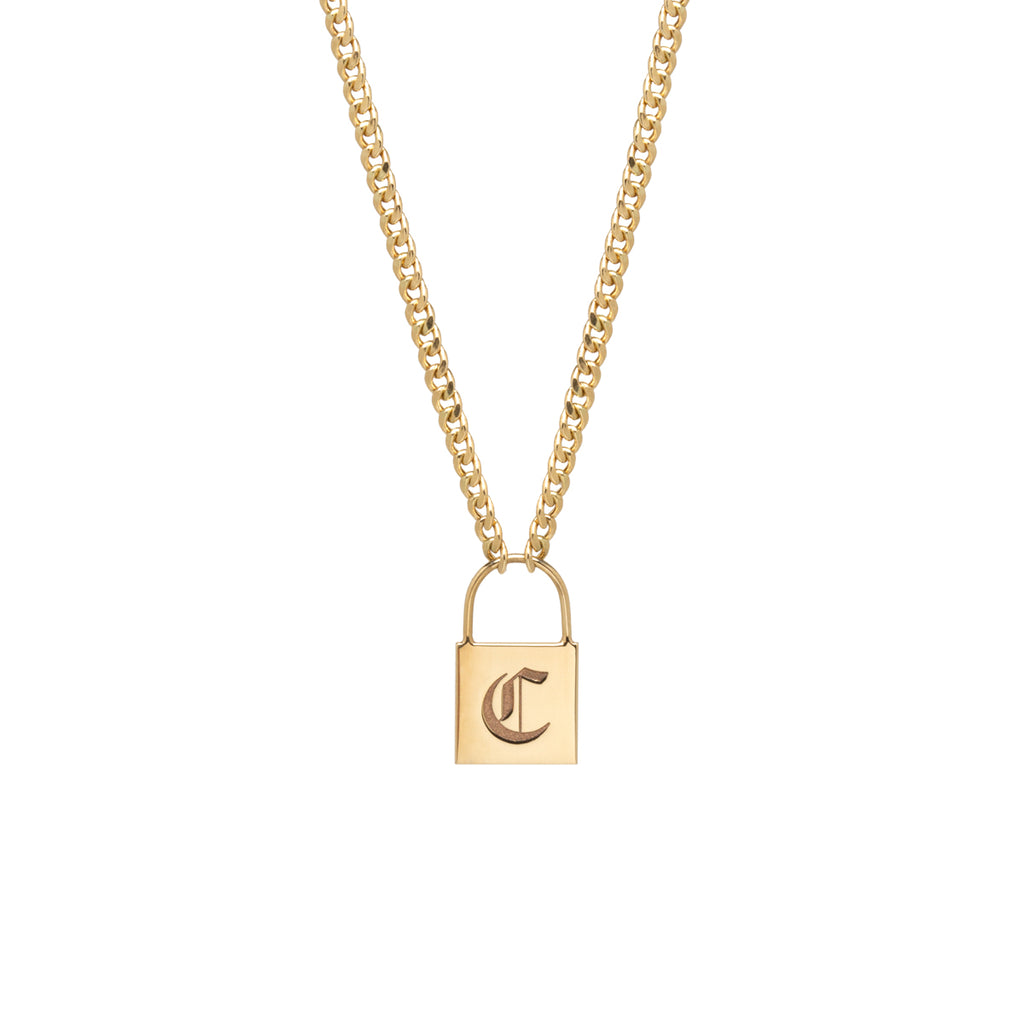 14k large padlock necklace with engraved initial on small curb chain