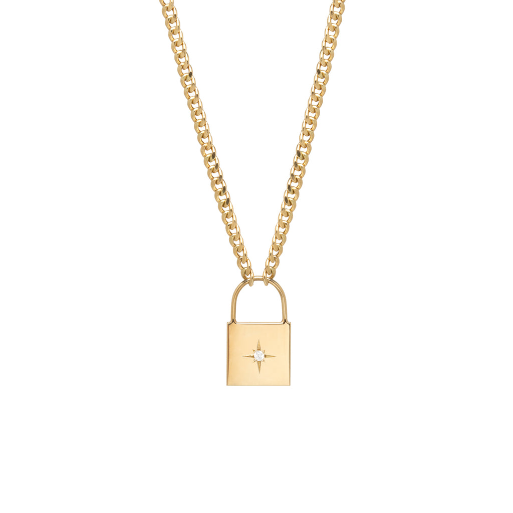 14k large padlock necklace with star set diamond on curb chain