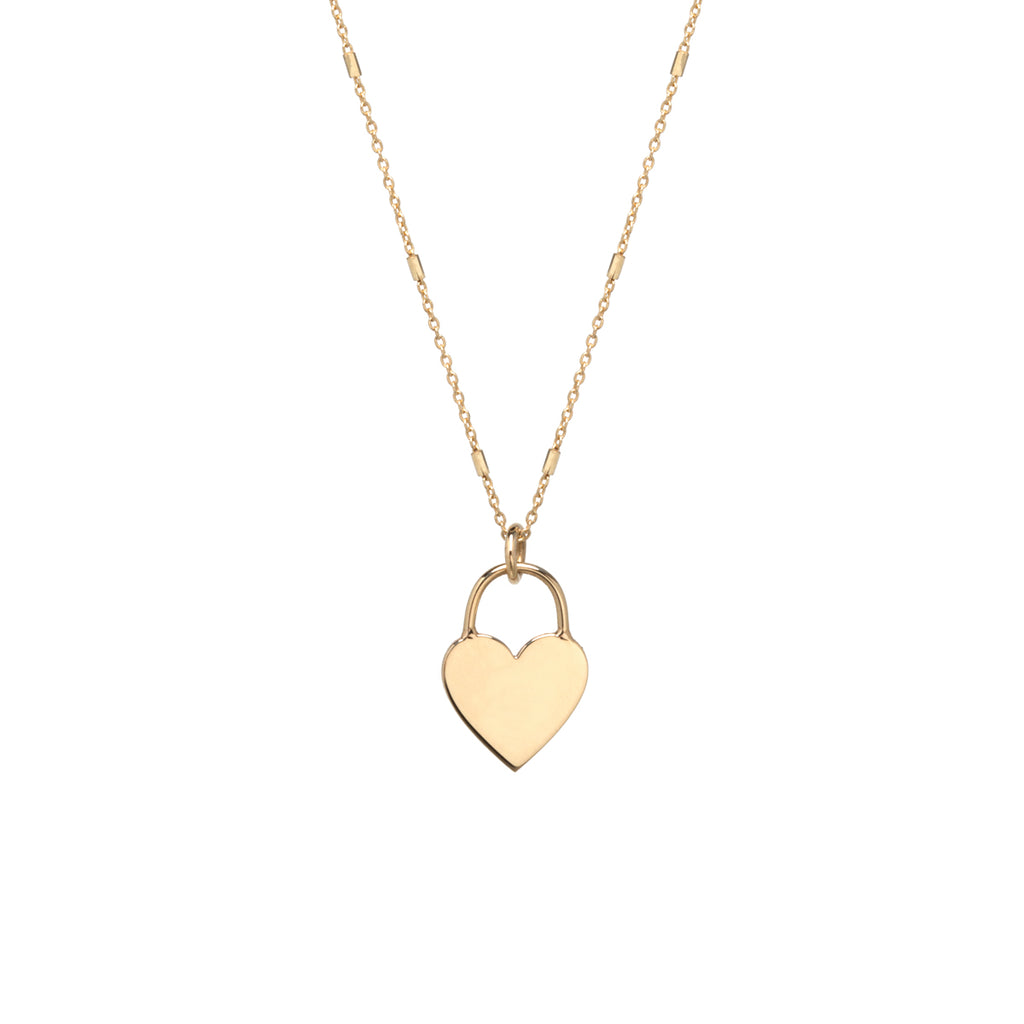 14k small heart padlock necklace