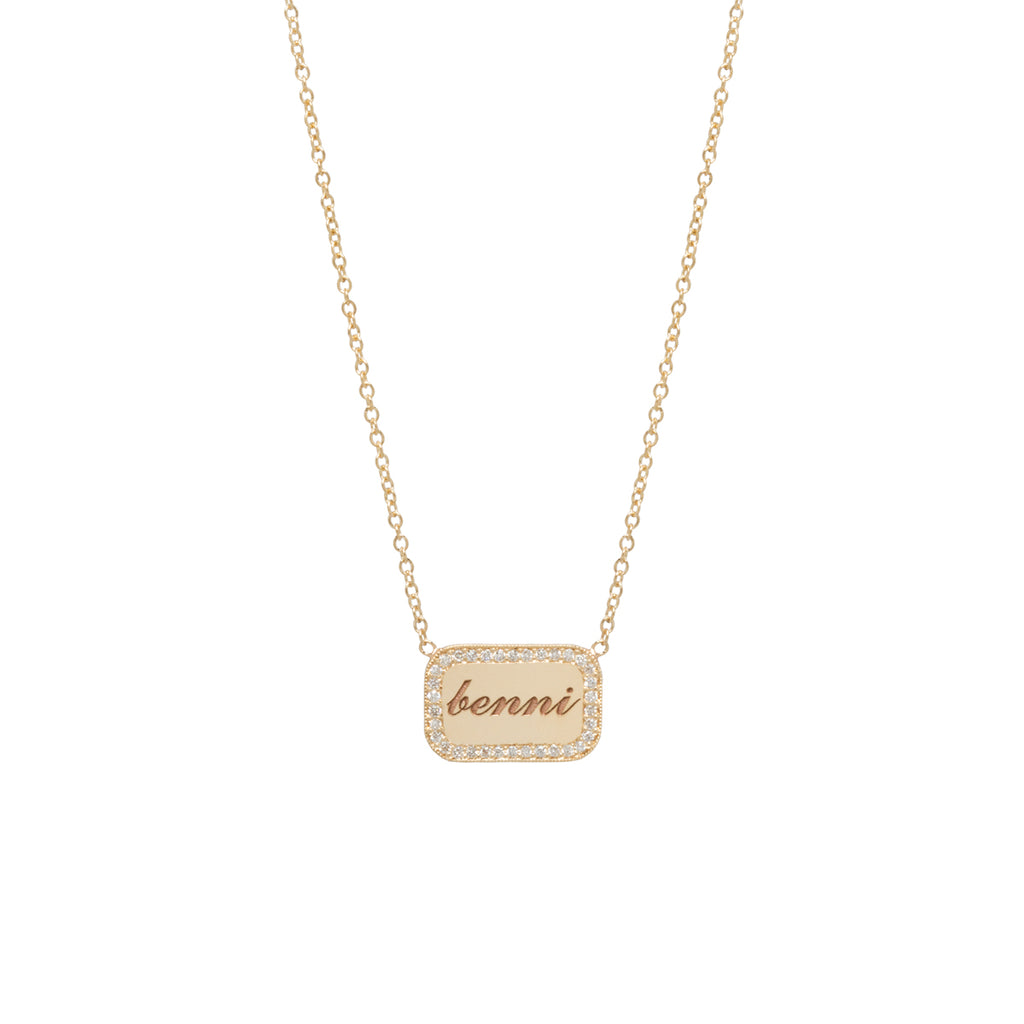 14k personalized rounded rectangle necklace with diamonds