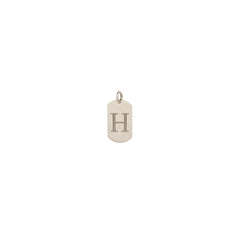 14k single initial engraved dog tag charm pendant