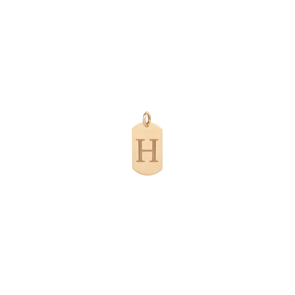 14k initial engraved dog tag charm pendant